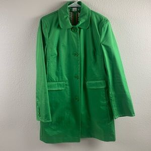 J. CREW KELLY GREEN COTTON TRENCH/ PEA COAT